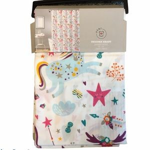 Unicorn Heart fabric shower curtain. Rainbow Stars